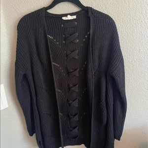 black cross back cardigan